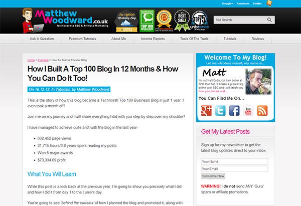 Matthew Woodward Blogging Case Study