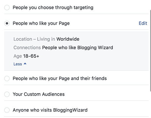 Choose your target audience to boost your post to