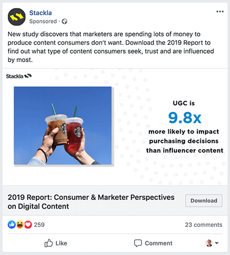 Example of a Facebook ad in a newsfeed