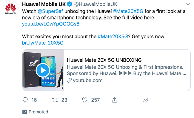 Example of a promoted tweet from Huawei