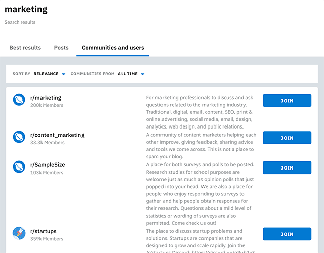 Searching for 'marketing' subreddits
