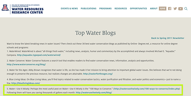 University of Arizona resource page - top water blogs