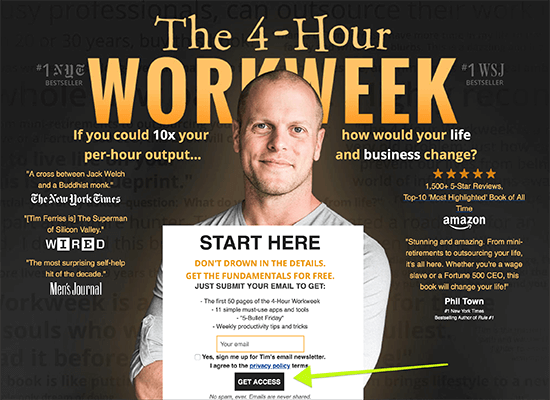 Tim Ferriss uses quotes from leading publications on his landing page