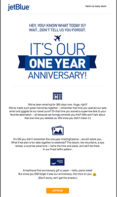 JetBlue product anniversary email