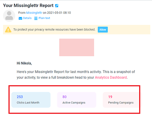 10 monthly report from missinglettr