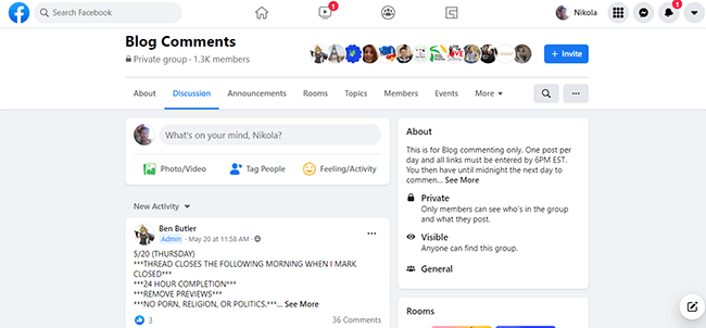 13 Facebook group for blog commenting