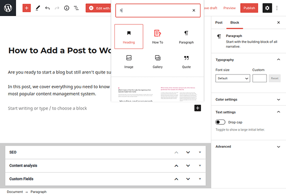 wordpress editor heading block