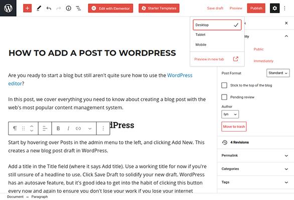 wordpress post preview